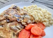 Omelete de Cogumelos com Cuscús