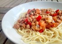 Esparguete com Carne Picada Picante