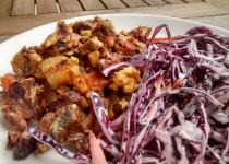 Hash de Porco com Salada Couve Roxa