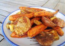 Batatas e Cenouras Assadas de Caril